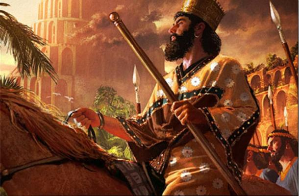 Una pintura de Ciro el Grande como él entra en Babilonia