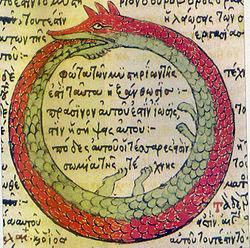 Drawing by Theodoros Pelecanos, in alchemical tract titled Synosius (1478) (Ouroboros serpent in old Greek alchemical manuscript)3