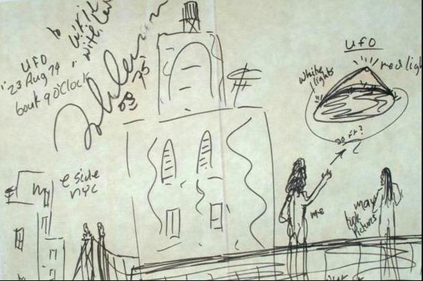 Dan a conocer un boceto que creo Jhon Lennon después de haberse encontrado con un extraterrestre.