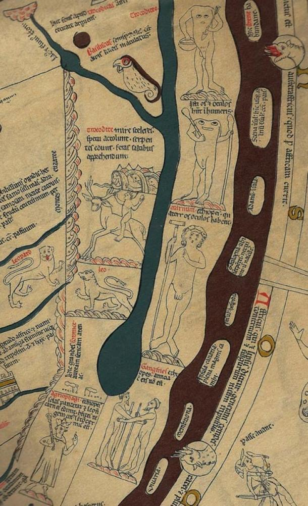 El Mapamundi: Ciudades Legendarias, Razas Monstruosas, y Bestias Curiosas un mapa Mundial