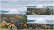 extrano fenomeno de una cupula de niebla aparece en rhyl reino unido