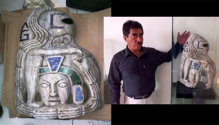 Estatua de «La figura alienígena que fue convertida» del museo de Xiutetelco