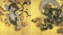 raijin dios sintoista del trueno y el rayo con tres dedos que representan el pasado el presente y el futuro