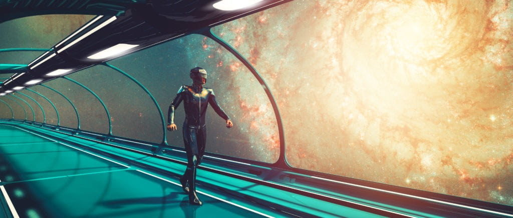 Concepto futurista retro de ciencia ficción, comandante, skybridge