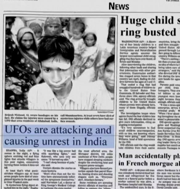 el ataque alienigena en la india que dejo 20 personas desaparecidas y 7 muertos en el 2002