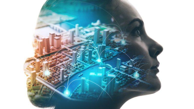 Concepto de AI (Inteligencia Artificial). Perfil de mujer y ciudad inteligente. Técnica mixta.