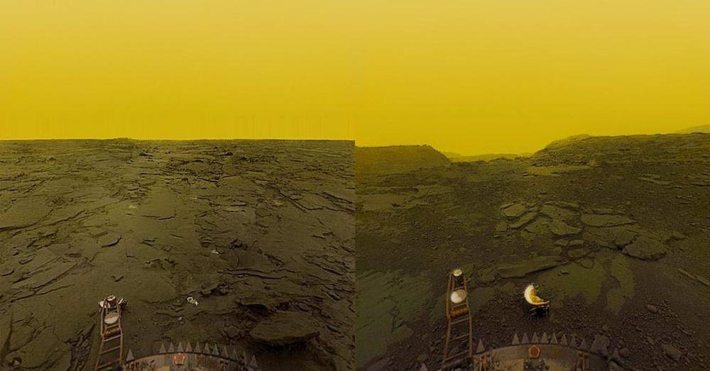 La superficie de Venus fotografiada por la misión soviética Venera.
