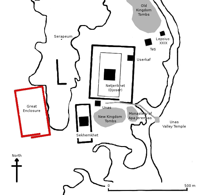 Gisr el-Mudir (Gran recinto, rojo) en el mapa de Saqqara. Crédito de la imagen: Wikimedia Commons / Public Domain.