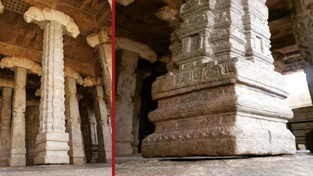 pilar flotante hallado en el templo lepakshi