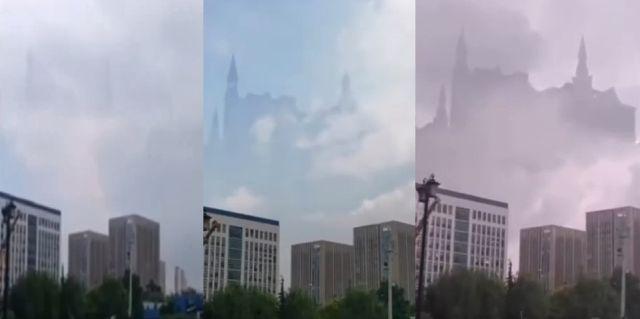 el castillo fantasmal estilo hogwarts parece flotar sobre la ciudad china