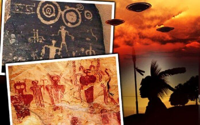 los extraterrestres y ovnis encontrados en las pinturas rupestres de los indios apaches prueban que los antiguos alienigenas visitaron la tierra