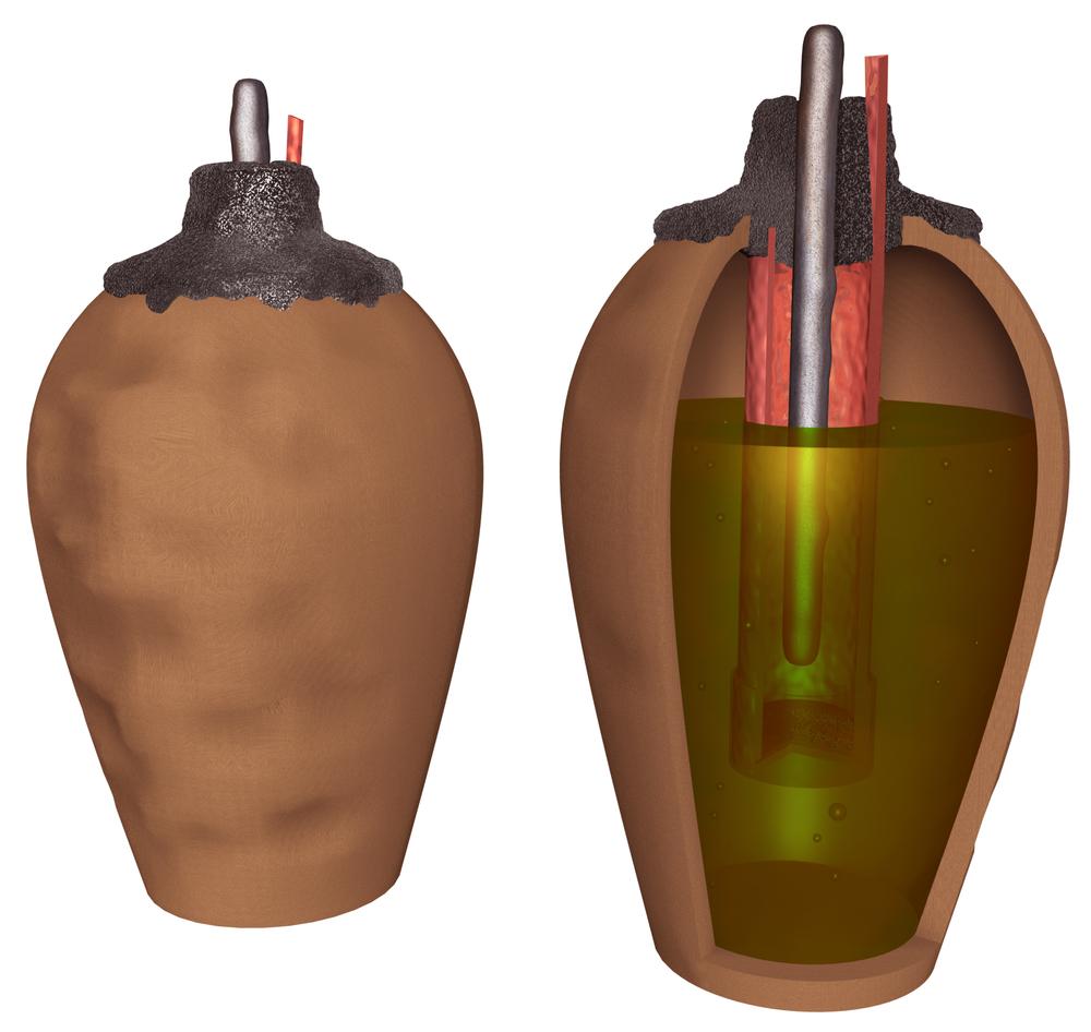 Aquí hay una ilustración del mecanismo de una batería de Bagdad. Todo lo que necesita hacer es llenarlo con vinagre o ácido. Crédito: Shutterstock