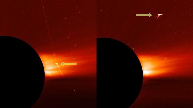 nave espacial alienigena disparando un enorme rayo laser capturado cerca del sol