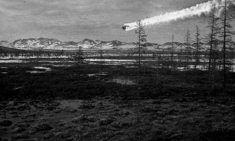 Una visualización del evento de Tunguska que respalda la versión del impacto de un meteorito. Crédito: Napalete.sk