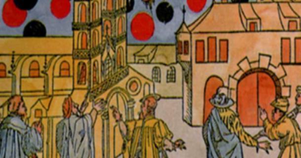 Grabado en madera pintado a mano por Samuel Coccius, Basilea Suiza 1566. El 7 de agosto, muchos globos negros se movían ante el sol a gran velocidad y parecían estar luchando. ¿Fue este un antiguo avistamiento de ovnis o un evento celestial? (Dominio público)