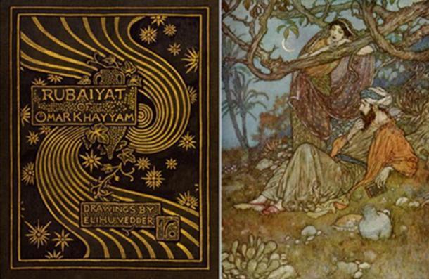 Portada del libro e ilustración de The Rubaiyat of Omar Khayyam.
