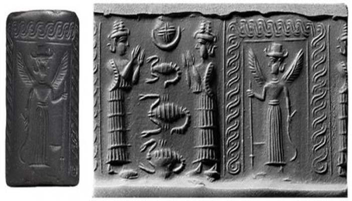 Inanna y Ereshkigal en el inframundo