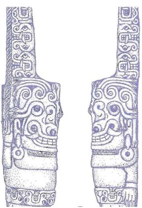 """La escultura de la """"Górgona"""" en Chavín de Huántar, tal y como aparece representada en la página 67 del libro del Doctor Enrico Mattievich, """"Viaje al Infierno Mitológico, el Descubrimiento de América por los Antiguos Griegos."""" (Cortesía de Enrico Mattievich)"""