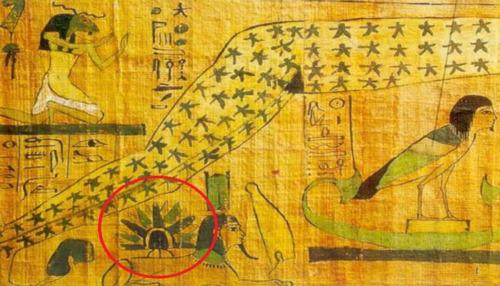 antiguo manuscrito muestra lo que parece ser un ovni sobre la esfinge