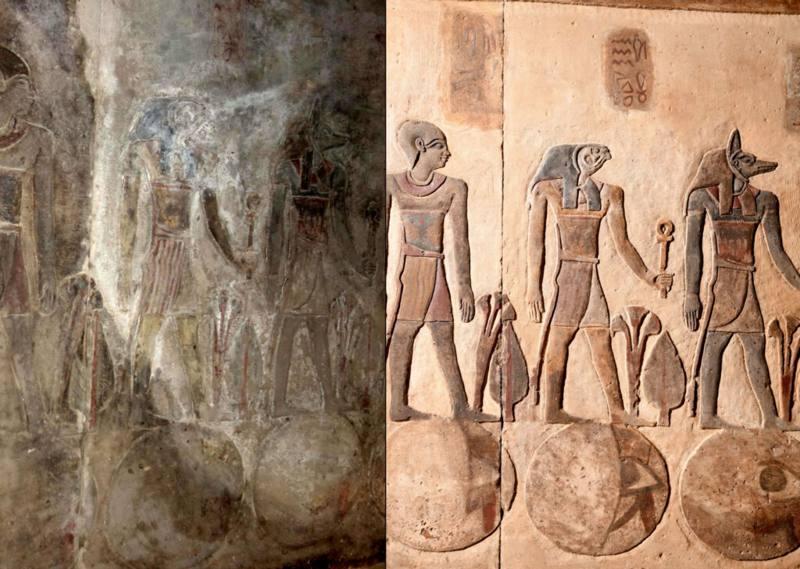 Detalle de una inscripción antes y después de la reconstrucción