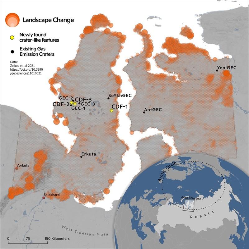Cráteres de Siberia se están formando más rápido y profundo que antes