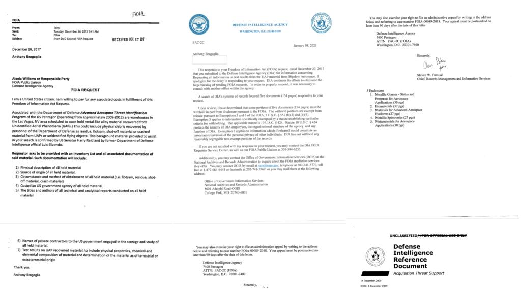 A la izquierda está la solicitud de Bragaglia, a la derecha hay una carta de presentación para la respuesta oficial proporcionada. Anthony recibió cinco archivos en total, de los cuales solo se ha publicado el más grande / © UFO Explorations