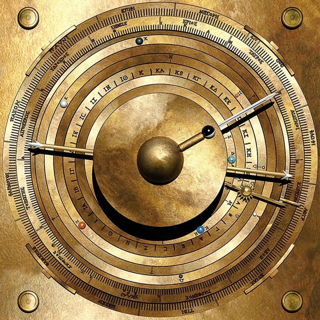 Modelo informático de la visualización del cosmos del mecanismo de Antikythera. Crédito: Tony Freeth
