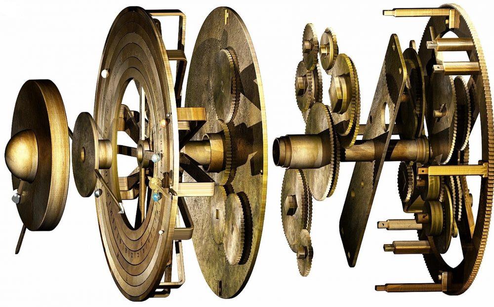 Este modelo digital del mecanismo de Antikythera revela los diferentes componentes de los engranajes utilizados para determinar las posiciones de los objetos celestes. Crédito: Tony Freeth