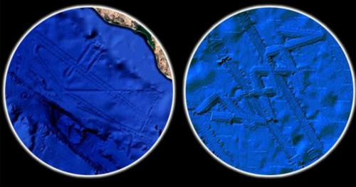 se descubrieron dos bases alienigenas gigantes sumergidas usando google earth