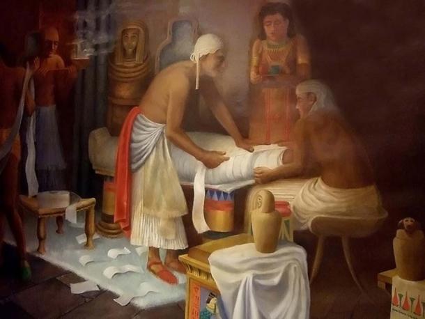 Mural de preparación de momias egipcias en el Museo Egipcio Rosacruz.